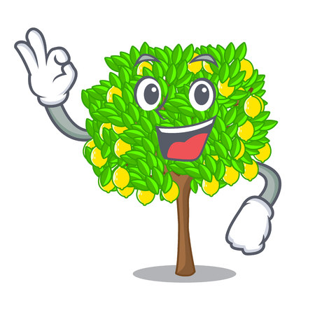 Okay lemon tree isolated with the mascot vector illustration Vectores