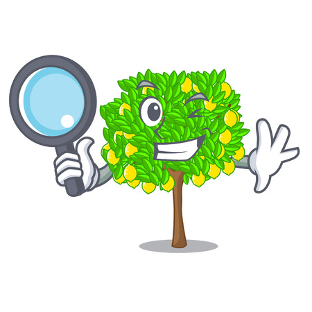 Detective lemon tree isolated with the mascot 矢量图像