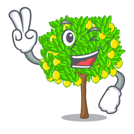 Two finger lemon tree isolated with the mascot vector illustration