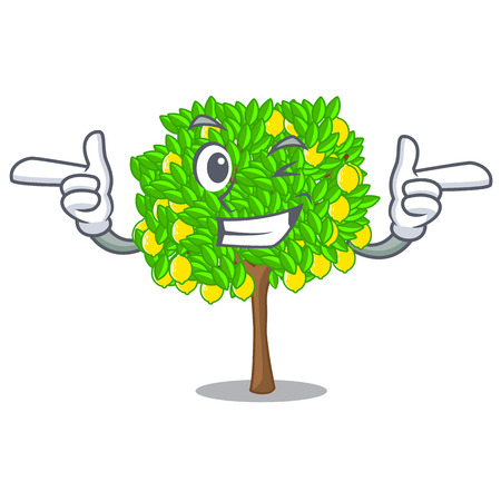 Wink lemon tree isolated with the mascot vector illustration