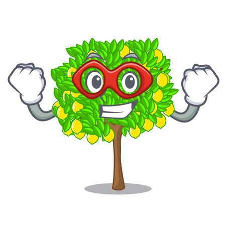 Super hero lemon tree isolated with the mascot 矢量图像