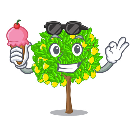 With ice cream lemon tree isolated with the mascot vector illustration