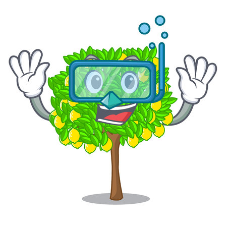 Diving lemon tree isolated with the mascot