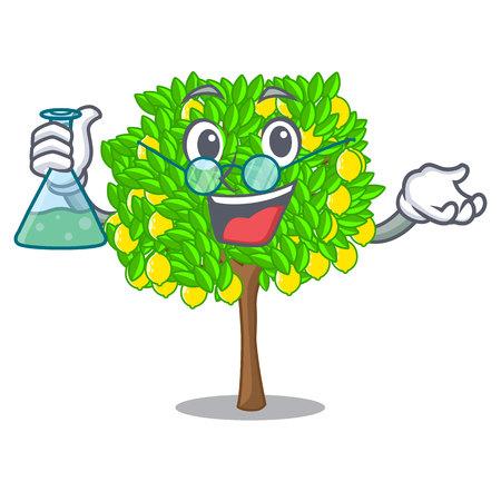 Professor lemon tree isolated with the mascot vector illustration