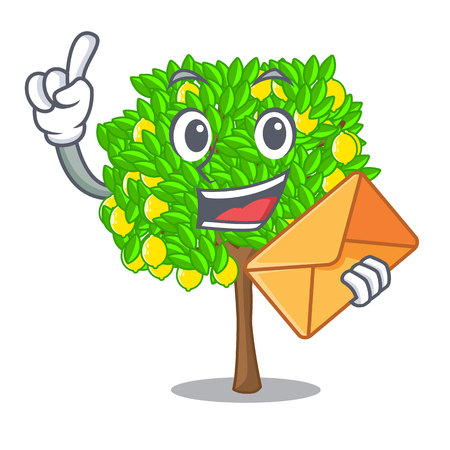 With envelope lemon tree isolated with the mascot vector illustration
