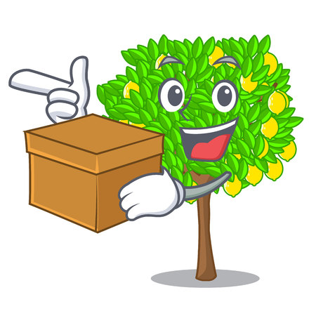 With box lemon tree isolated with the mascot vector illustration