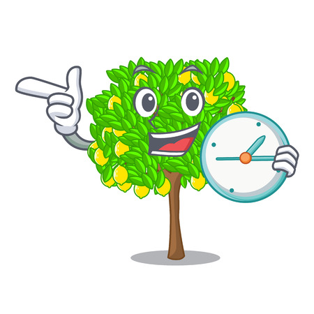 With clock lemon tree isolated with the mascot vector illustration
