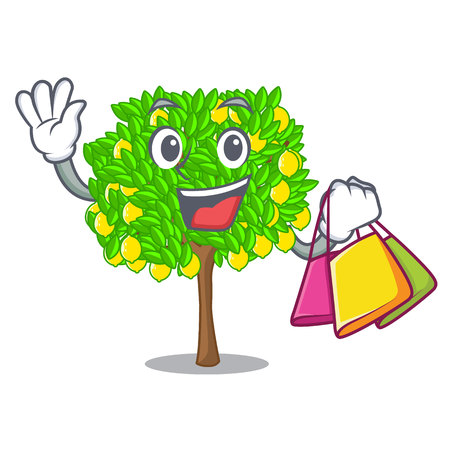 Shopping lemon tree isolated with the mascot vector illustration