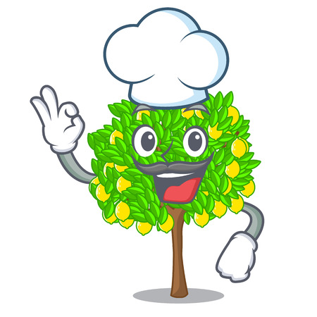 Chef lemon tree isolated with the mascot vector illustration