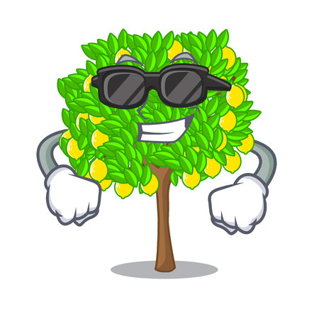Super cool lemon tree isolated with the mascot vector illustration