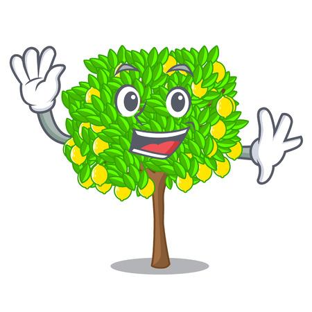 Waving lemon tree isolated with the mascot vector illustration 矢量图像