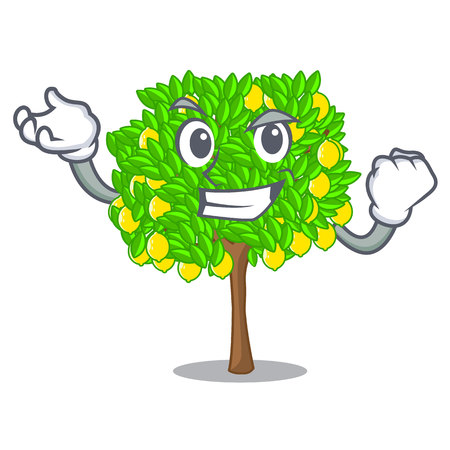 Successful lemon tree isolated with the mascot vector illustration Illustration