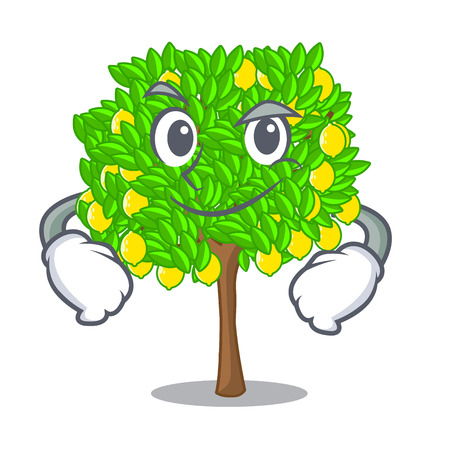 Smirking lemon tree isolated with the mascot vector illustration