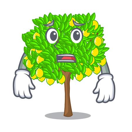 Afraid lemon tree cartoon next the house vector illustration