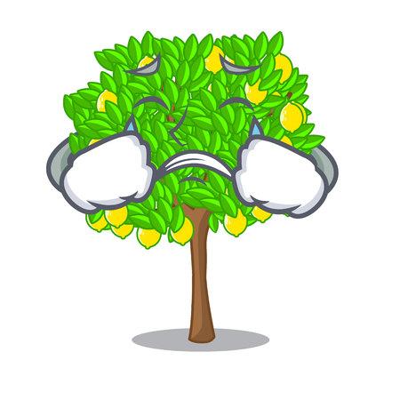 Crying lemon tree cartoon next the house