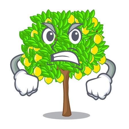 Angry lemon tree cartoon next the house vector illustration Illustration
