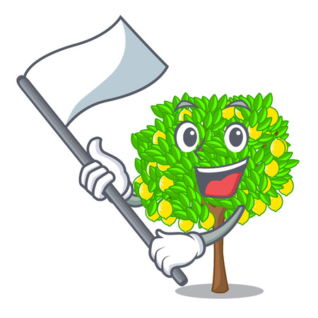 With flag lemon tree in the pot character vector illlustration Imagens - 124513931