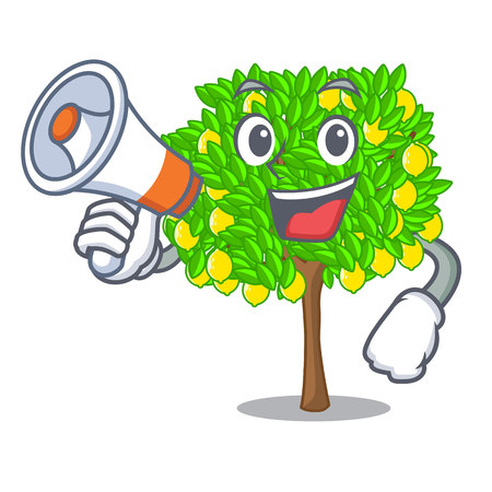 With megaphone lemon tree in the cartoon shape vector illustrtion