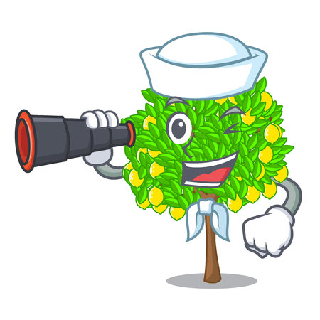 Sailor with binocular lemon tree cartoon next the house vector illustration