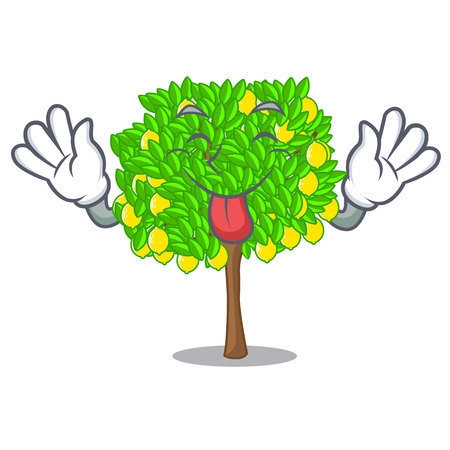 Tongue out lemon tree in the pot character