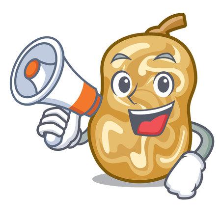With megaphone raisins in a the cartoon bowl vector illustration Ilustração