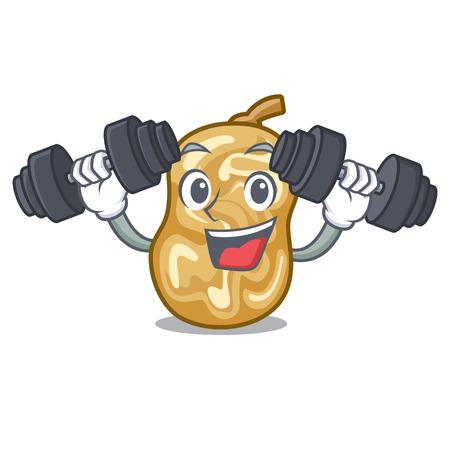 Fitness raisins in a the cartoon bowl vector illustration