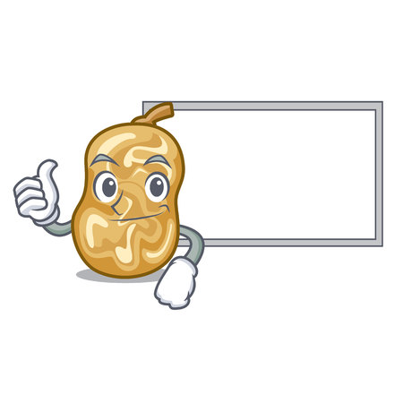 Thumbs up with board raisins in a the cartoon bowl vector illustration