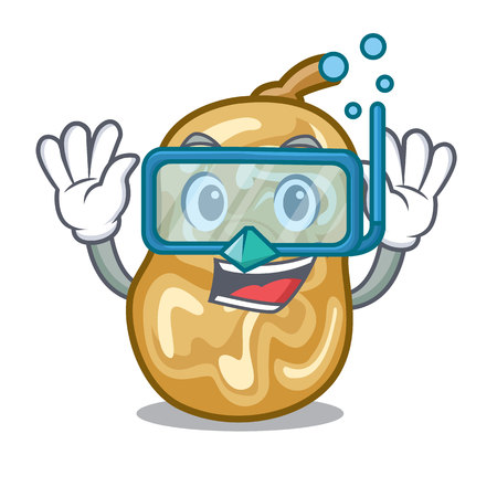 Diving raisins isolated with in the mascot vector illustration