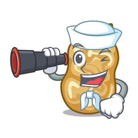 Sailor with binocular raisins in the a character box vector illustration Stock Illustratie