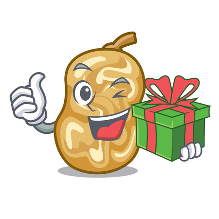With gift raisins in the a character box vector illustration Stockfoto - 124514010