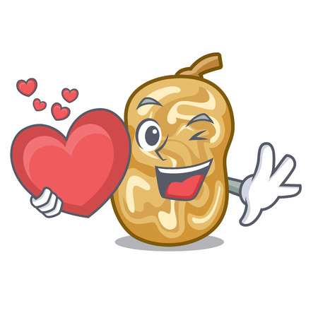 With heart raisins in the a character box vector illustration Stock Illustratie