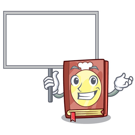 Bring board recipe book above wooden character table vector illustration Ilustração