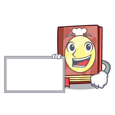 With board recipe book above wooden character table vector illustration Ilustração