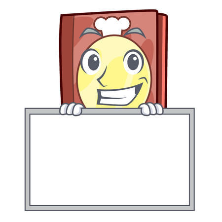 Grinning with board recipe book above wooden character table vector illustration