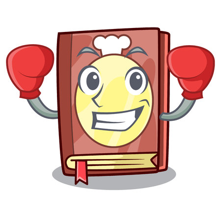 Boxing recipe book above wooden character table vector illustration