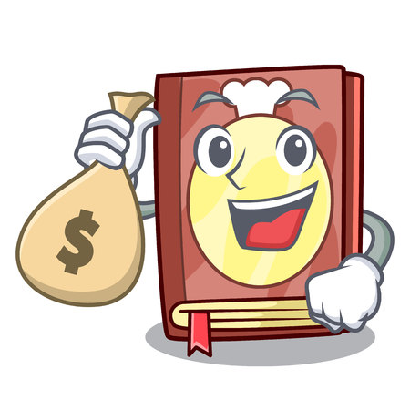 With money bag recipe book above wooden character table vector illustration