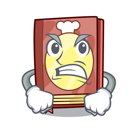 Angry recipe book in the cartoon shape vector illustration