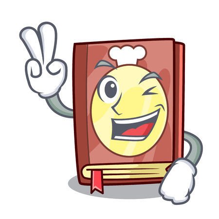 Two finger recipe book isolated in the cartoon vector illustration