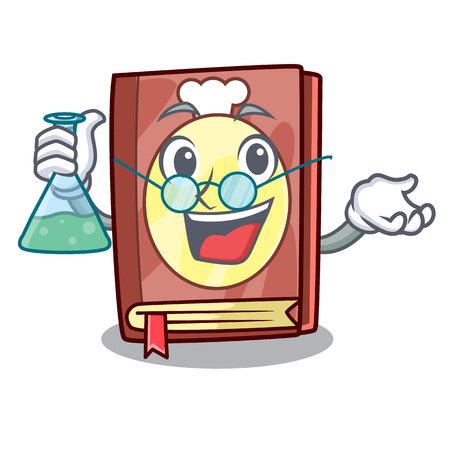 Professor recipe book isolated in the cartoon vector illustration Ilustração