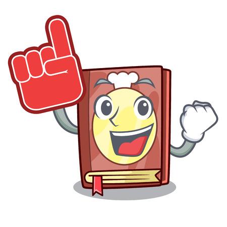 Foam finger recipe book on the mascot shelf vector illustration