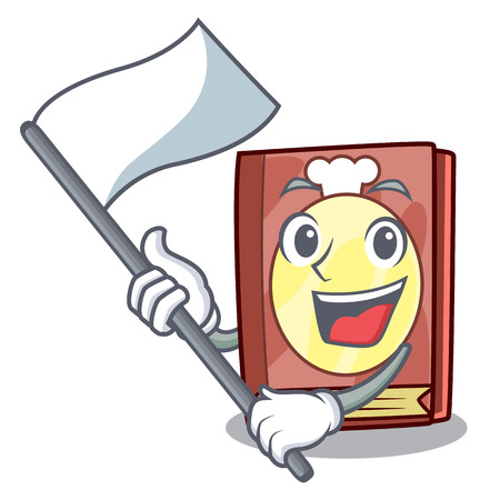 With flag recipe book on the mascot shelf vector illustration