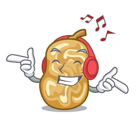 Listening music raisins in the a character box vector illustration Stock Illustratie