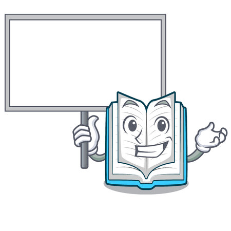 Bring board opened book on the cartoon table vector illustrtion