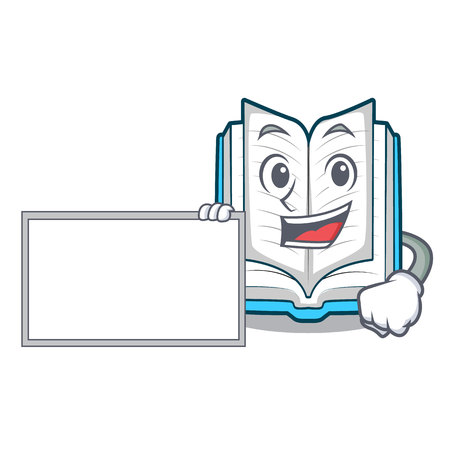 With board opened book on the cartoon table vector illustrtion