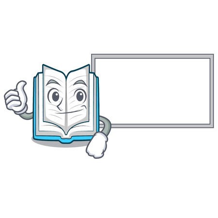 Thumbs up with board opened book on the cartoon table vector illustrtion