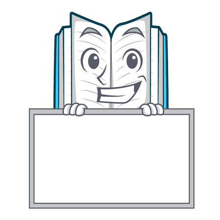 Grinning with board opened book on the cartoon table vector illustrtion
