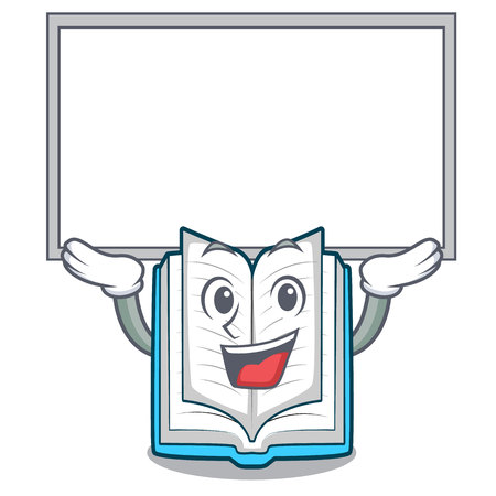 Up board opened book on the cartoon table vector illustrtion