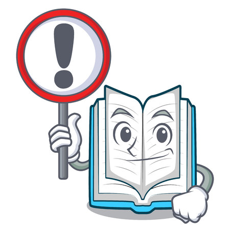 With sign opened book on the cartoon table vector illustrtion