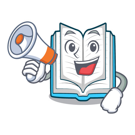 With megaphone opened book on the cartoon table vector illustrtion