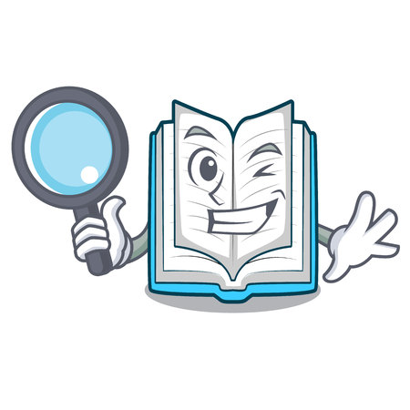 Detective opened book isolated in the character
